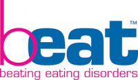 """Logo with the word """"beat"""", the letter b in pink and the other letters in blue. The letter b  slightly overlaps the adjacent letter e . The words """"beating eating disorders"""" in lower case are written underneath the word beat in pink."""