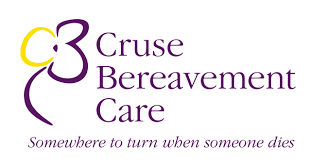 """Logo: part-purple part-yellow outline of a flower alongside the words """"Cruse Bereavement Care, somewhere to turn when someone dies"""""""