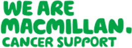"""Logo with the words """"We are Macmillan, cancer support"""" in large green letters"""