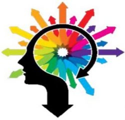 Illustration: silhouette of a face on a question mark with a rainbow of arrows radiating around it