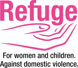 """Logo. Illustration of an outline of a hand holding the word """"Refuge"""", all in pink, with the words """"For women and children, against domestic violence"""" in black text underneaath it."""